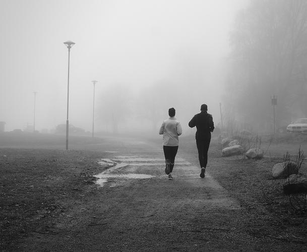 Svartvita bilder i dimma